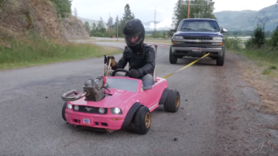 Photo of Dirt Bike Powered Barbie Mustang Power Wheels