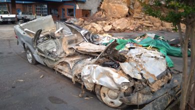 Photo of Rock Slide Flattens Ford F-150
